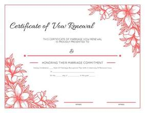 vow renewal certificate template free printable floral certificate of vow renewal