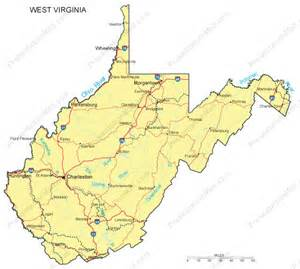 west cities map west virginia powerpoint map major cities roads