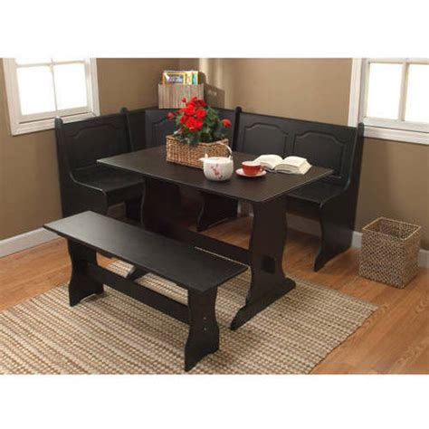 dining room nook sets breakfast nook 3 piece corner dining set black walmart com