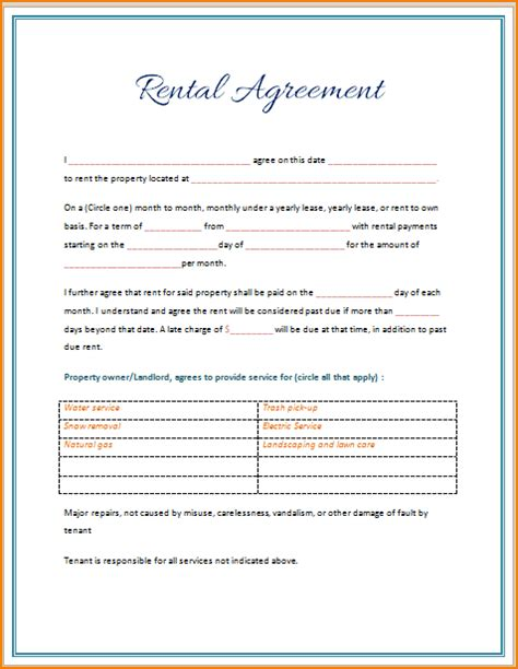 rental lease agreement template word anuvrat info
