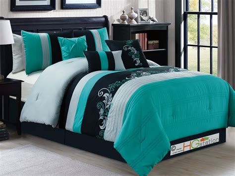 7 p gael scroll floral leaf embroidery comforter set