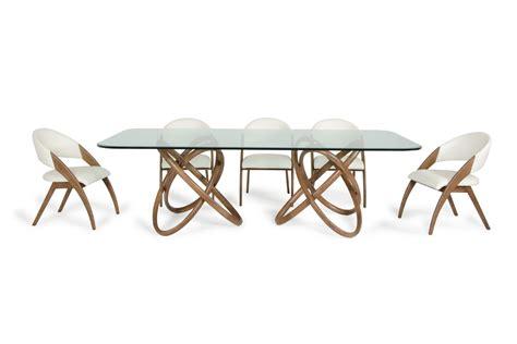 Modern Glass Dining Table Modrest Modern Glass Walnut Dining Table