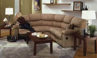 Sectional Sofas With Recliners Camel Microfiber Reclining Sectional Sofa W Throw Pillows