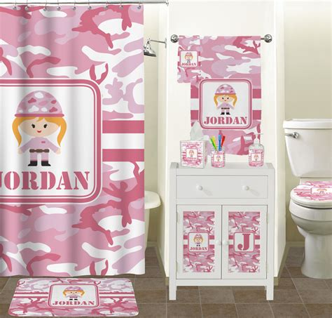 pink camo bathroom accessories set ceramic personalized
