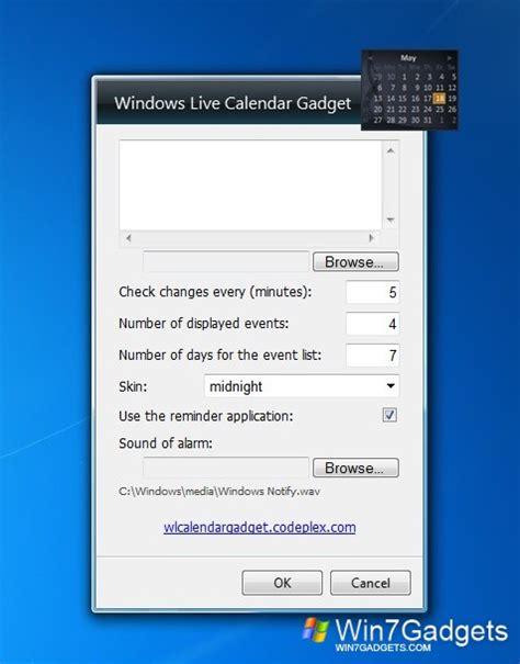 Windows 7 Calendar Gadget Calendar Gadget Windows 7 Calendar Template 2016