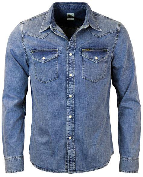 Denim Shirt retro 1970s slim fit pocket western denim shirt