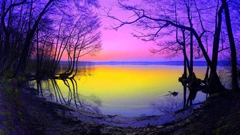 sunset lake full hd wallpaper  background image