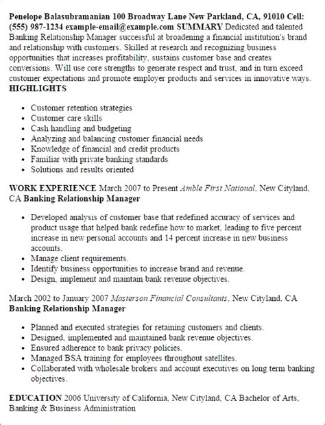 Bank Manager Resume by Banking Resume