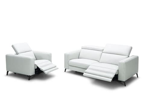 modern reclining leather sofa divani casa roslyn modern white leather sofa set w