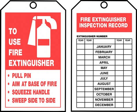 extinguisher inspection tags grainger search