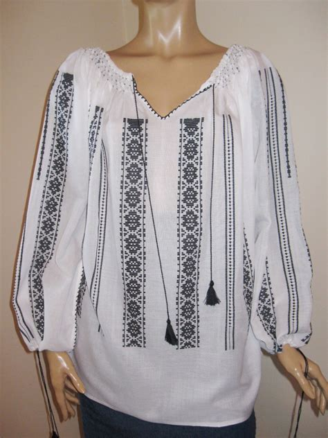 black pattern blouse hand made romanian peasant blouse size xl xxl black