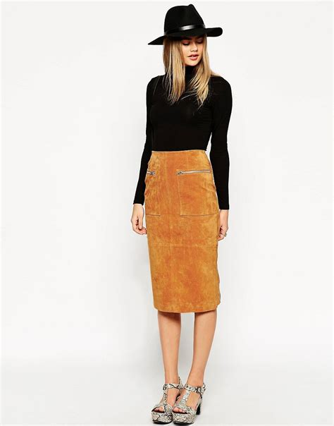 asos asos midi pencil skirt in suede with pockets and