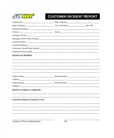 incident report email sle customer report form images