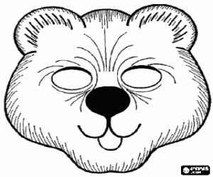 bear mask coloring page printable game