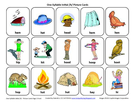 printable articulation cards testy yet trying initial h free speech therapy