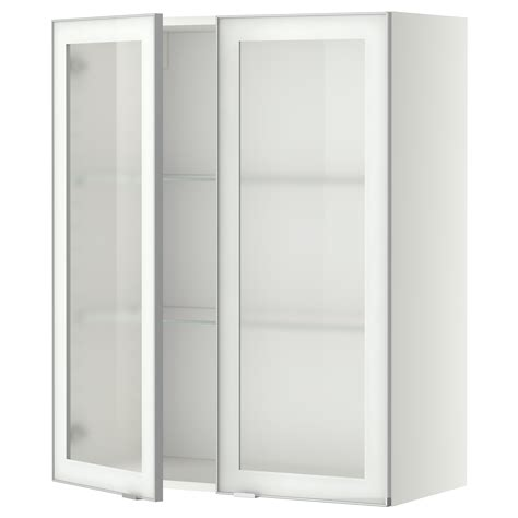 Glass Shelves Kitchen Cabinets Metod Wall Cabinet W Shelves 2 Glass Drs White Jutis Frosted Glass 80x100 Cm Ikea