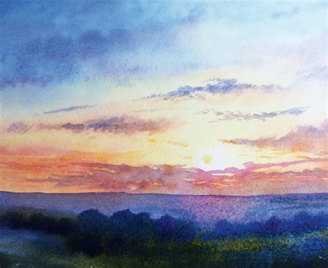 tutorial watercolor sunset how to paint a sunrise and sunset painting tutorials