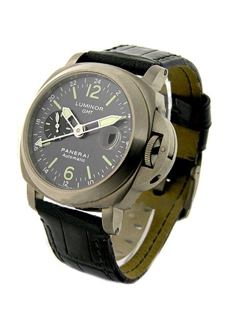 Luminor Panerai Gmt Leather panerai luminor gmt in titanium pam 89 pam00089 on black