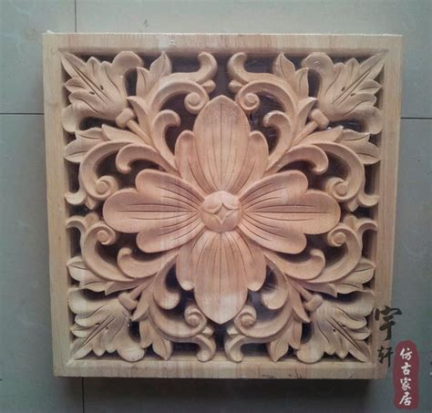 dongyang wood carving applique corner flower corbel motif