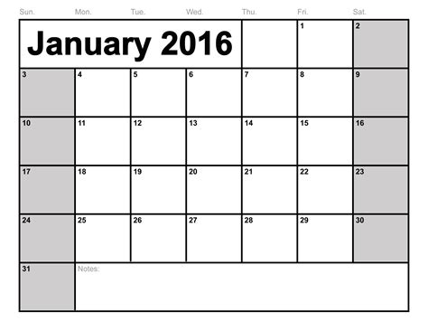 Free Calendars To Print January 2016 Calendar Printable Template 8 Templates