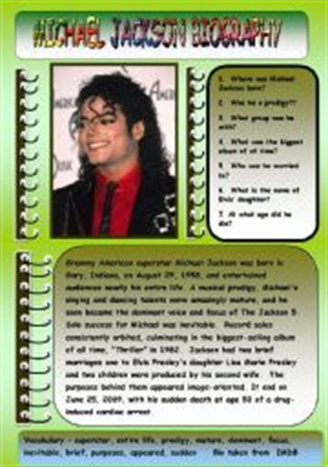 biography michael jackson pdf intermediate esl worksheets michael jackson biography