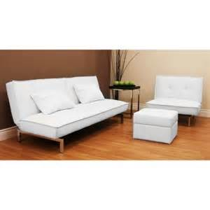 convertible futon sofa bed white faux leather