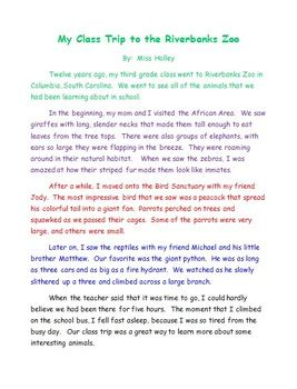 Essay About Trip by Class Field Trip Exle Essay By Bethany Holley Teachers Pay Teachers