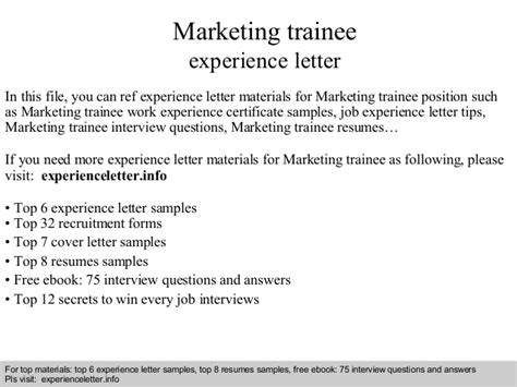 certification letter for trainee marketing trainee experience letter
