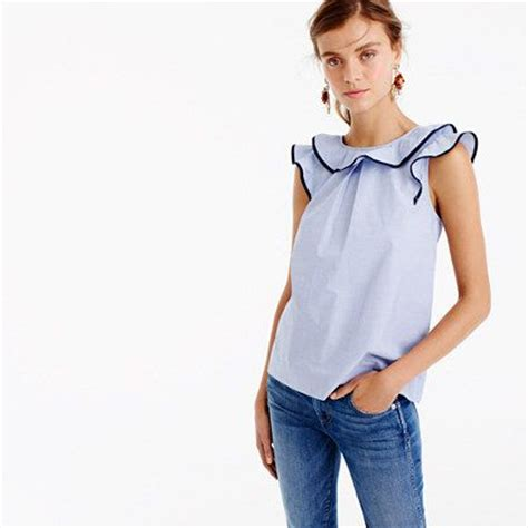 Rufle Top ruffle top in end on end cotton ruffle top jcrew