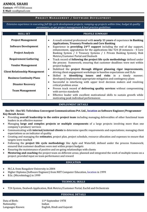 Experience Resume In Software Developer by Software Developer Resume Template Pictures Gallery Of 12