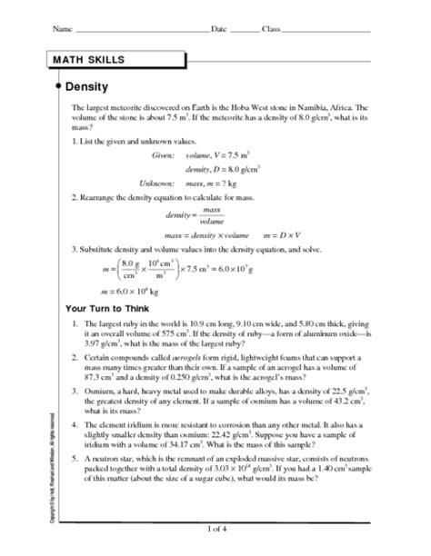 10th Grade Science Worksheets by Worksheet Density Worksheet Physical Science Caytailoc