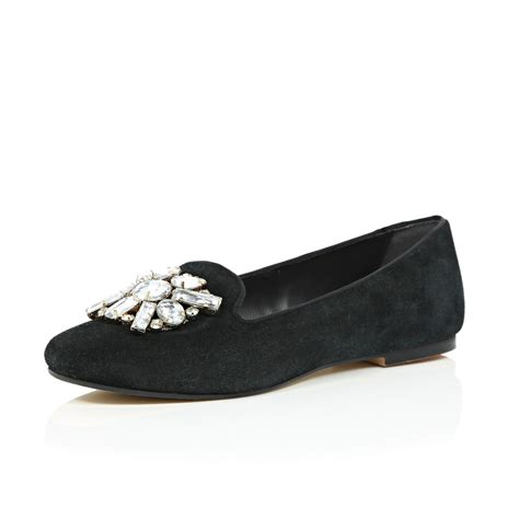 river island flat shoes river island black suede embellished ballerina flats in