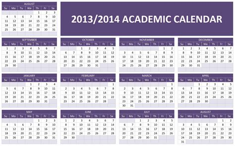 2014 2015 academic calendar template 6 best images of printable year calendar 2013 2014 2013