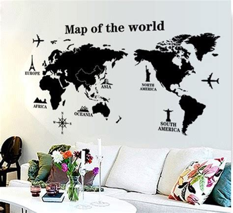 stiker dinding dekoratif peta dunia besar stiker dinding stensil dekoratif hitam
