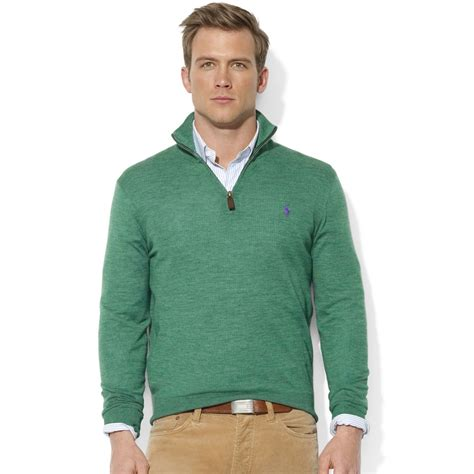 Sweater Rajut Pria Mock Turtleneck Green 1 ralph sweater halfzip mock neck merino wool pullover in green for lyst