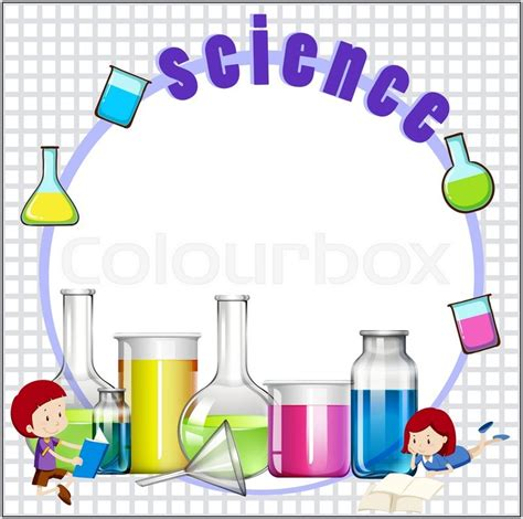 design art science border design with children and science equipments