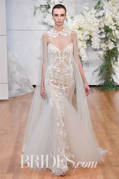 Monique Lhuillier Crystal Embroidered Trumpet Gown Spring