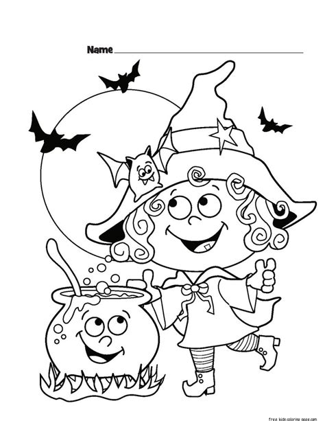childrens halloween witch costumes coloring page for