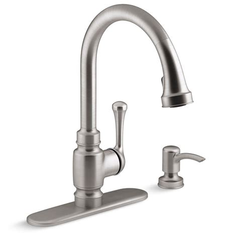 kohler kitchen faucets home depot kohler carmichael single handle pull down sprayer kitchen