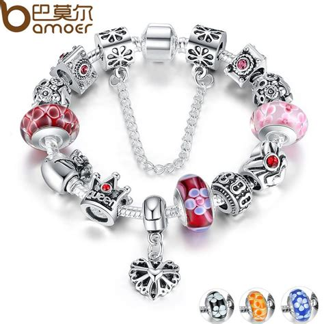 Crown Bead Bracelet bamoer jewelry silver charms bracelet bangles with