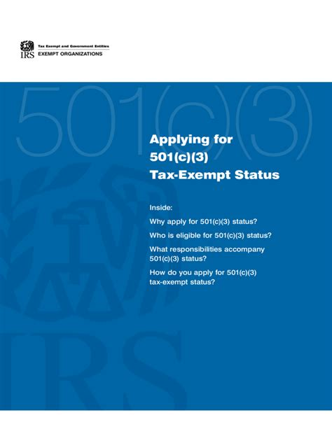 applying for 501 c 3 tax exempt status united states