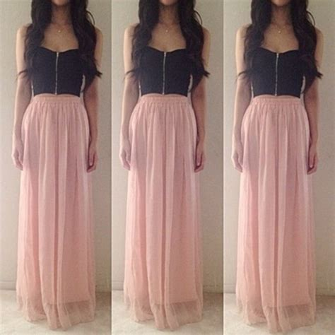 dress skirt bandeau bralette flowy crop tops maxi