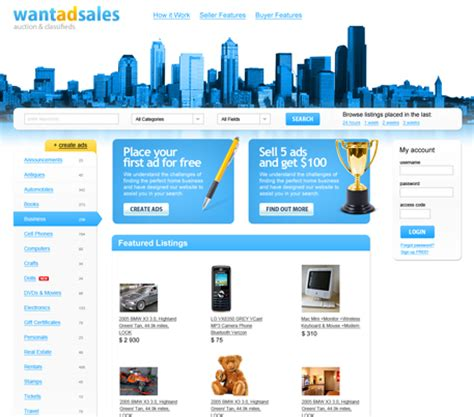 layout web online classifieds web design