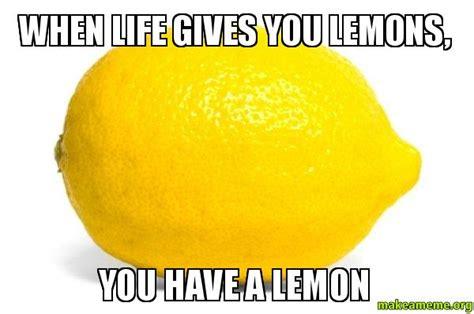 Lemon Memes - when life gives you lemons you have a lemon lemon