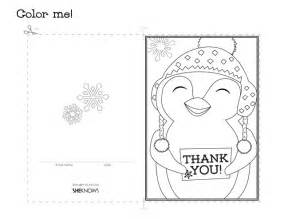 coloring cards penguin thank you card free printable coloring pages