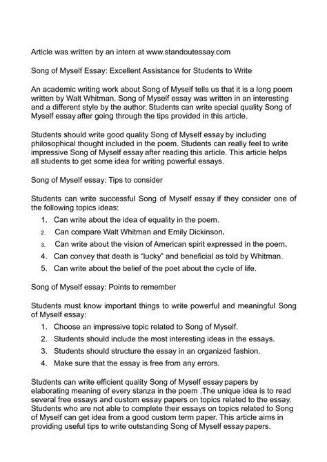 Song Of Myself Essay by Calam 233 O Song Of Myself Essay Excellent Assistance For Students To Write