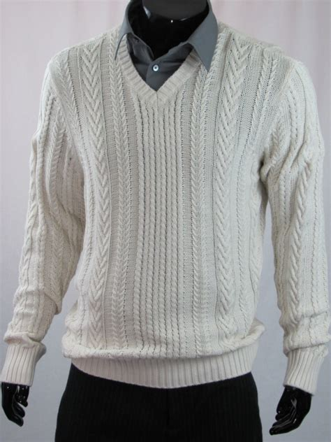 white knit sweater mens vince mens cable knit v neck sweater white ebay