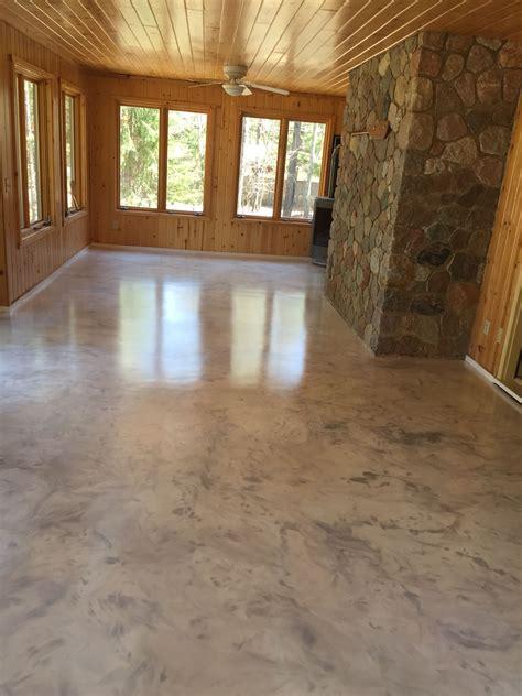 Metallic epoxy floor coating with satin non slip finish by