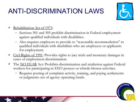 section 501 and 505 of the rehabilitation act of 1973 workplace harassment by office of diversity and inclusion va