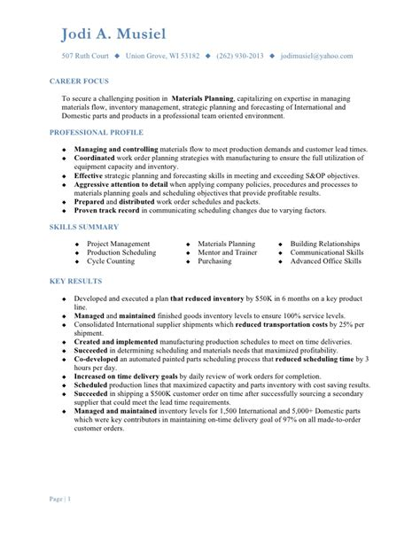 Sle Resume For Zs Associates Material Planner Resume Sle 28 Images Coordinator